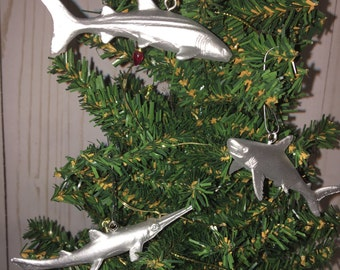 Silver Aquatic Ornament Set (3) // sharks // whales // rays