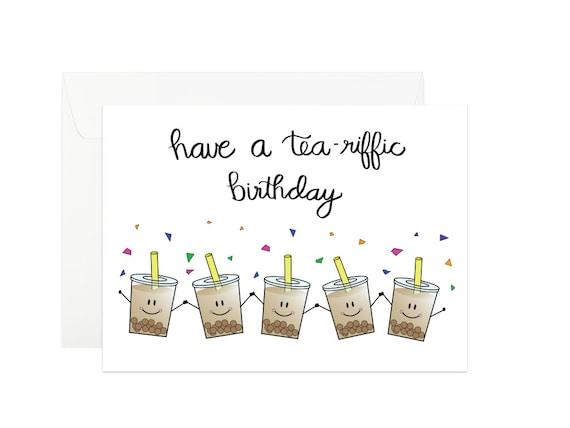 Bubble Tea Birthday Card Boba Tea Birthday Card Milk Tea Etsy