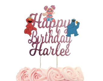 Sesame Street Cake topper personalized , Elmo birthday custom cake topper, sesame street centerpiece , Abby birthday decorations,