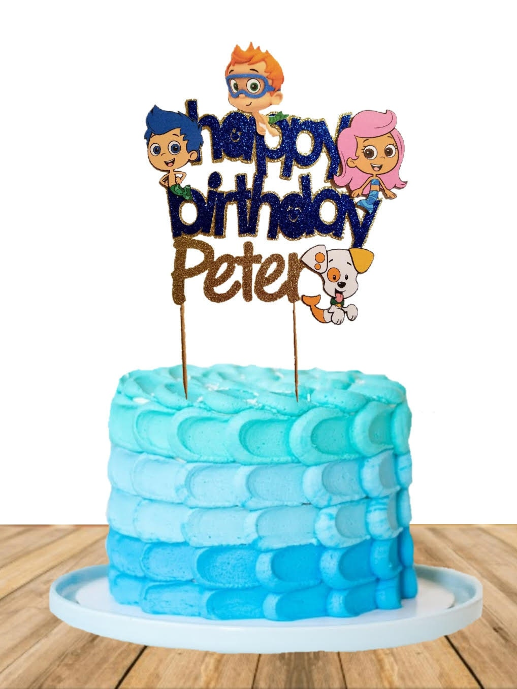 Cool Bubble Guppies Cake Topper Personalised Birthday Cards Veneteletsinfo