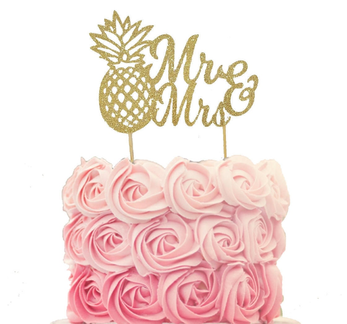 Mr & Mrs Pineapple Gold Glitter Wedding Cake Topper Tropical | Etsy