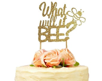 What Will It Bee Cake Topper, Gender Reveal Cake Topper, Baby Shower Cake Topper, Gender Reveal Party, Boy or Girl, He or She, Bee Topper