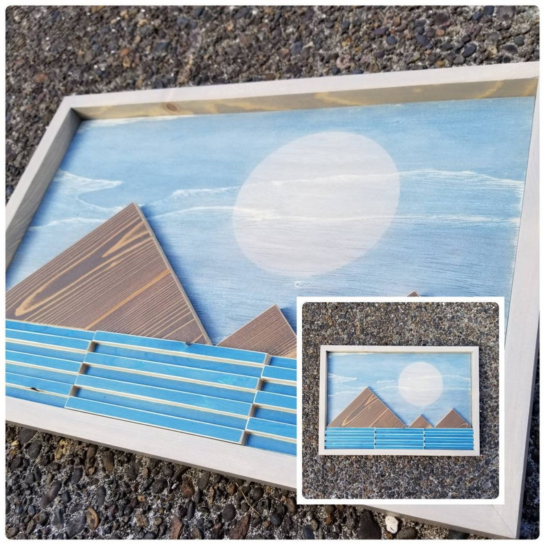 Mountain Range Artwork Abstract Wood Wall Art Framed Artwork Hanging Wall Art