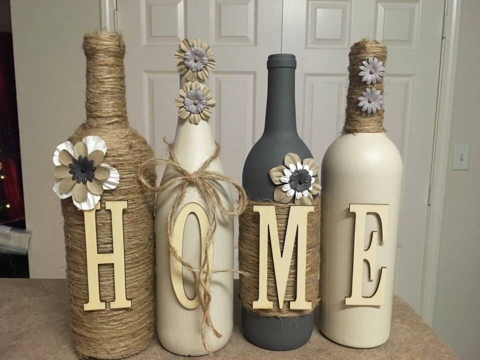 Wine Bottle Decor. Hand Painted Cream And Grey Custom