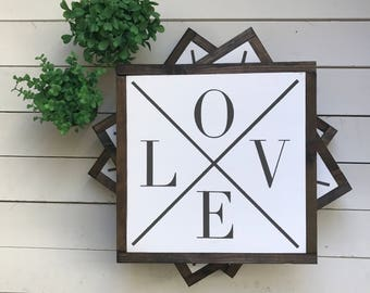 "LOVE | handmade wood sign | 13"" x 13"" 