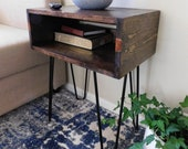 Industrial Nightstand, Modern End Table, Hairpin Leg Industrial Bedside Table, End Table, Side Table, Rustic Night Stand, Urban Industrial