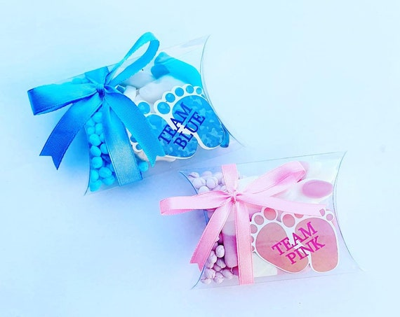 Baby Shower Favours Gender Reveal Party Pillow boxes Sweets (Qty 1)