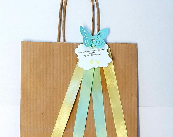 Brown Kraft Favour Bags Baby Shower Lemon and Green  Favour Tag Gender Reveal Favours Butterfly