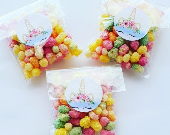 Unicorn Poop Favours Cello Bag filled with Rainbow drops Rainbow Unicorn Party Sweets (Qty 5)