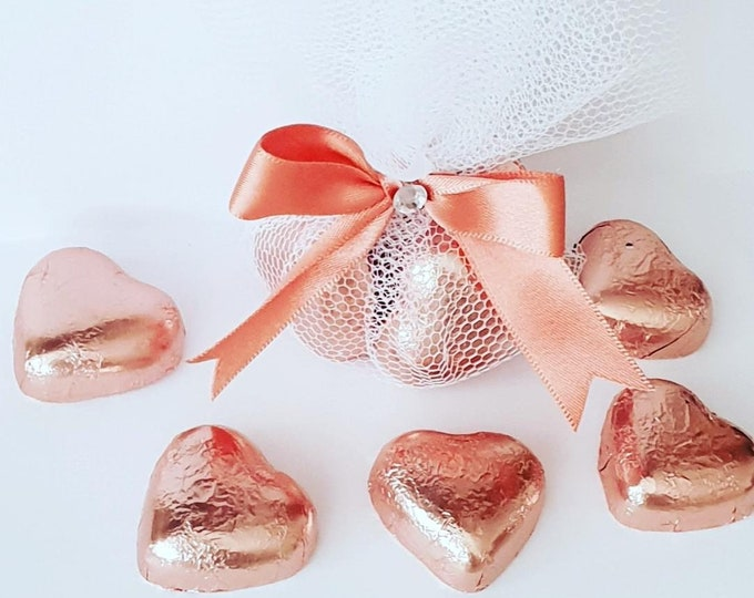 Rose Gold Favours Chocolate Hearts Sweet Favours Baby Shower Wedding Favours