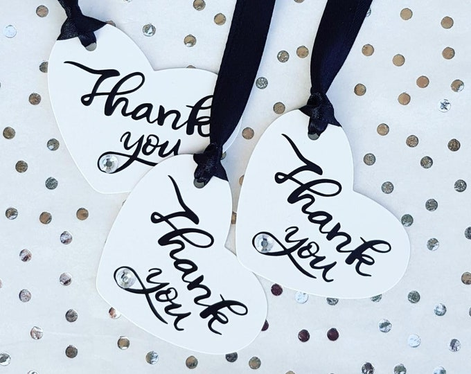 Heart shaped thank you favour tags Pack of 10 Gift tags