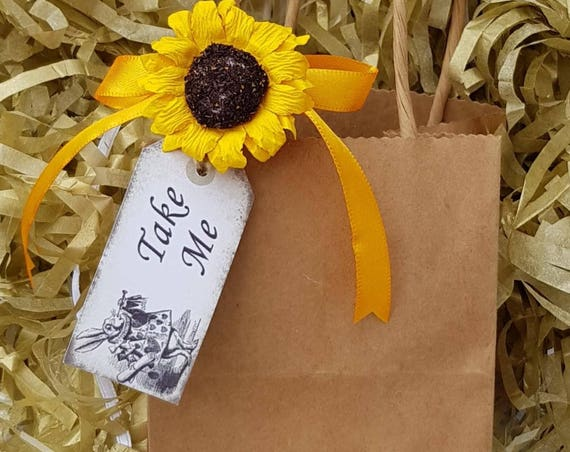 12 Brown Favour Bags with Sunflower Baby Shower Weddings Party Gift Bags