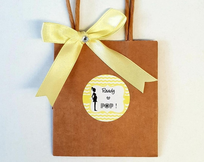10 Mini Kraft Brown Baby Shower Favour Bags She's Ready To Pop  Yellow Gender Reveal