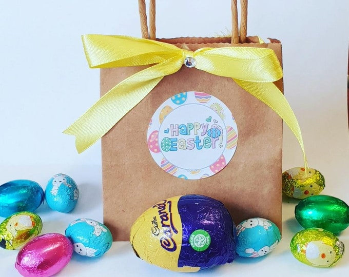 Prefilled Kraft Brown Easter Bag Easter Eggs Party Favours Treat Bag