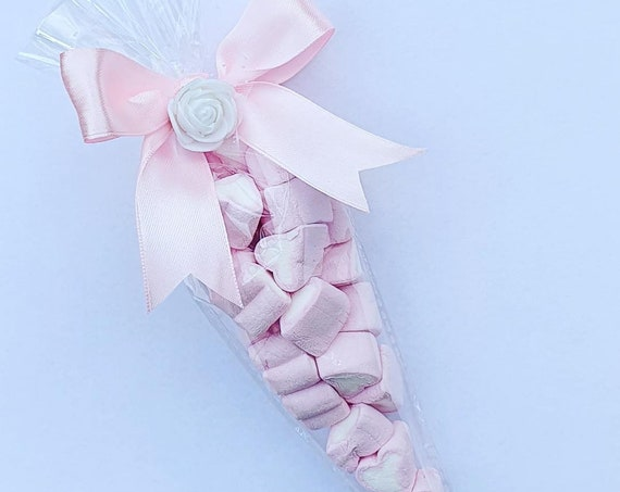 Pink Heart Marshmallow Sweet Cones Favours Baby Shower Party Wedding (Qty 5)