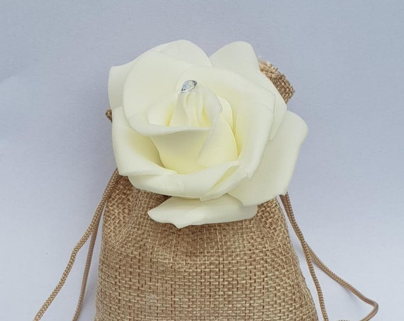 Wedding Favours Hessian Drawstring Jute Bags with Flower Rustic Burlap