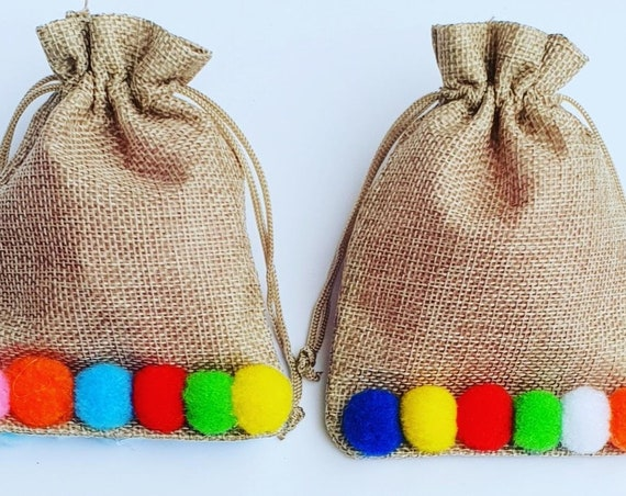 Hessian Jute Favour Bags Rustic Burlap Bags Childrens Party Gift Bags Weddings (Qty 10)
