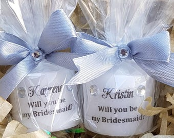 Personalised will you be my bridesmaid candle gift favours