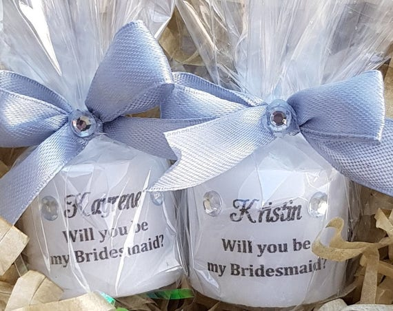 Personalised Will You Be My Bridesmaid Candle gift Favours Bridesmaid Gifts Keepsake Wedding