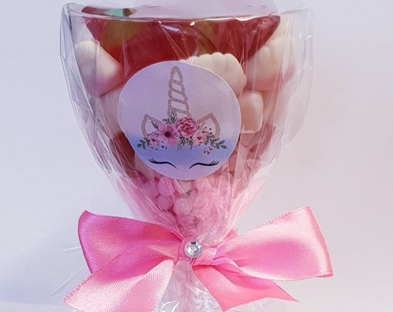 Unicorn Theme Party Favours Prefilled Sweet 16 Sleepover Wine Glass Girls Party Birthday Baby Shower (Qty 1)