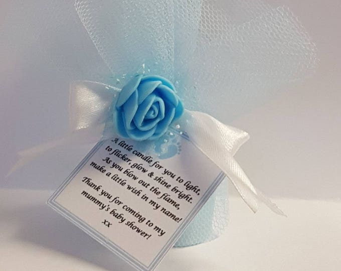 Scented Votive Candle Baby Shower Favours  Gender Reveal  Candle favours with poem tag Wedding Bridal shower