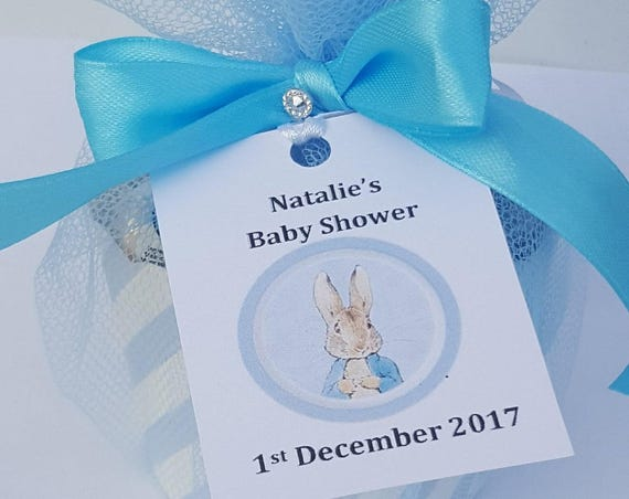 Baby Shower Peter Rabbit or Princess Sweet Favours with Personalised Tag filled with Love Hearts (Qty 1)