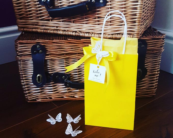 Yellow Favour Bag with 3D Butterfly Personalised Tag Baby Shower Weddings Bridal party Welcome Bag