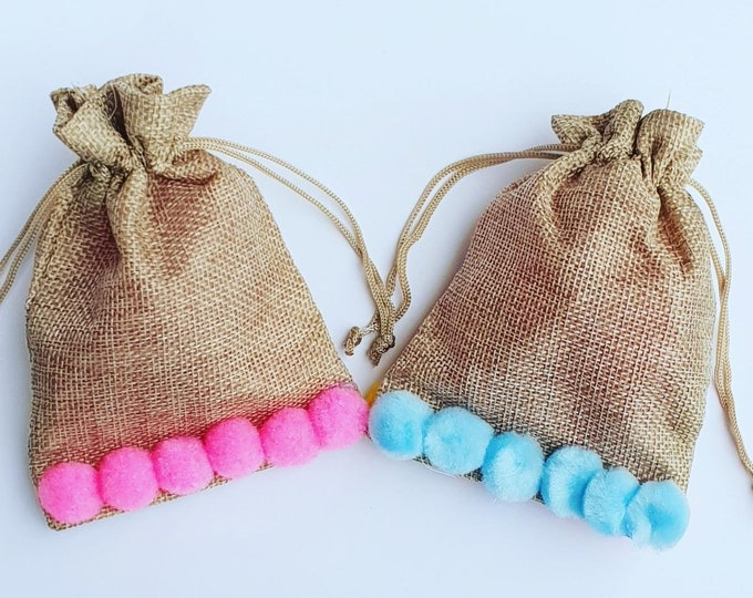 10 Hessian Pom Pom Favour Bags. Baby Shower Gift Bags Rustic Bags Burlap Gender Reveal
