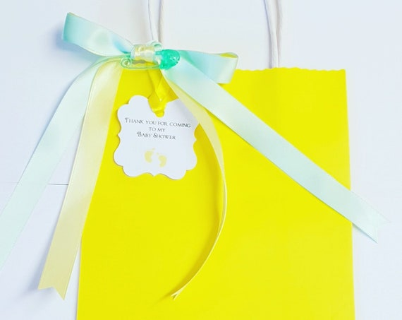 Yellow Baby Shower Favour Bags with  Mint Green Ribbons Gender Reveal