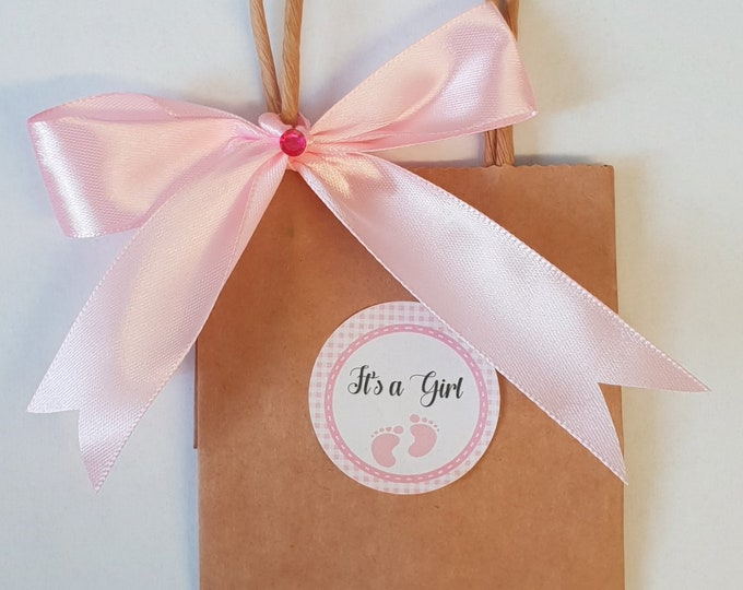 10 x Mini Baby Shower Favour Bags Kraft Brown Bags Gender Reveal Gift Mum to Be