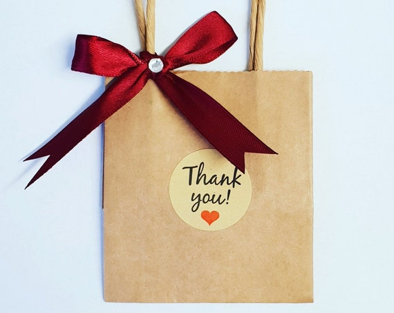 10 x Rustic Mini Kraft Brown Favour Bags Thank You Gift Wedding Birthday Corporate Welcome Bag