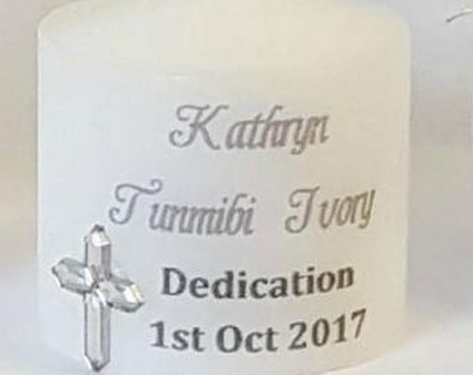 Dedication Naming Candle  wrapped in tulle Personalised Candle Favour ideas Favours