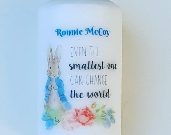 Rabbit Themed Decorated Scented Candle Personalised Favour Gift Baby Shower New Baby Nursery (QTY 1)