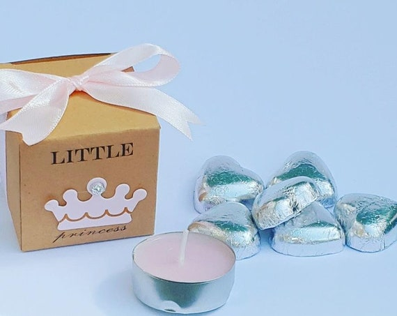 Little Princess Prefilled Baby Shower Favours Kraft Cube Box  Pink Crown Belgian Chocolates Tealight Candle (Qty 10)