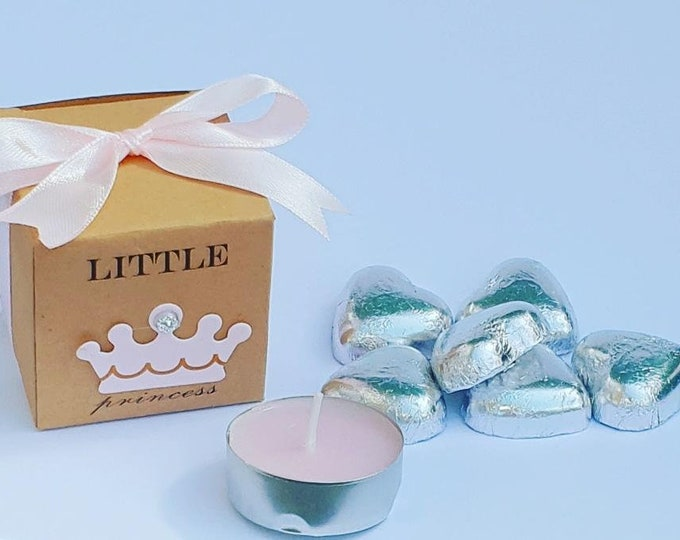 10 x Little Princess Prefilled Baby Shower Favours Kraft Cube Box  Pink Crown Belgian Chocolates Tealight Candle