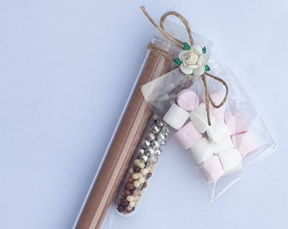 Hot Chocolate Test Tube Shot Favours Wands Marshmallows Wedding Baby Shower Birthday  (Qty 1)
