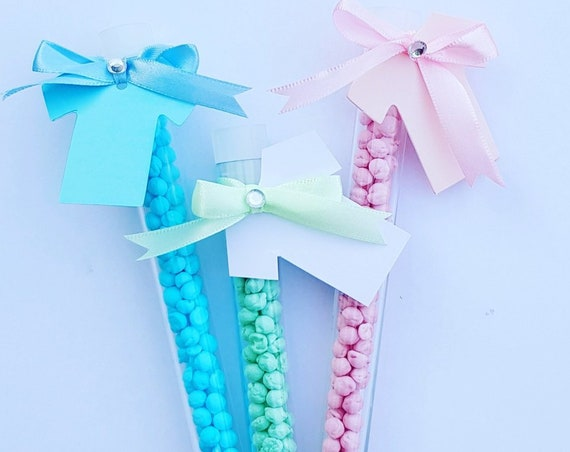 Baby Shower Favours Test Tube Candy Wands Sweets Millions Childrens Party Weddings Christenings Gender Reveal (qty 5))