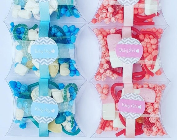 Baby Shower Pillow Box Favour filled with Candy. Gender Reveal Prefilled Favours (Qty 1)