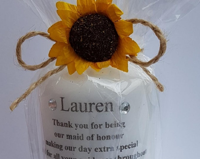 Personalised Candle Rememberance  Wedding Baby Shower Anniversary Candle Gift Bespoke
