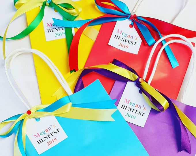 Hen Party Favour Bags Rainbow Bride to Be Bachelorette Party Personalised Favour Bags Team Bride