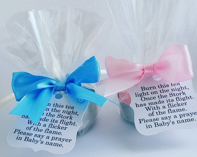 Baby shower Tealight Candle Favours Poem Tag Gender Reveal Mum to Be Favours