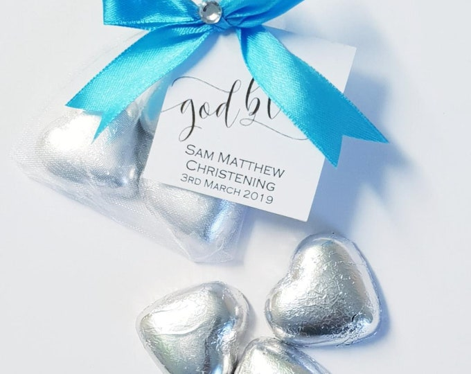 Baptism Favour Belgian Chocolate Hearts in Organza Bag Christenng Holy Communion