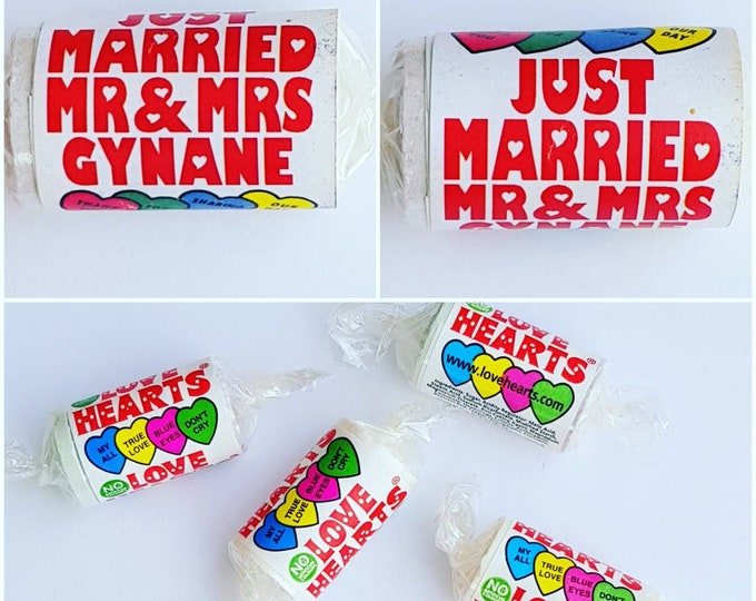 Personalised mini Love Hearts Sweet Favours Wedding Favours (25 -200 rolls)