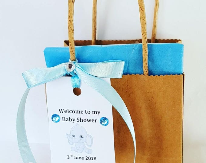 10  brown favour bags baby shower welcome bags personalised elephant gift tag gender reveal