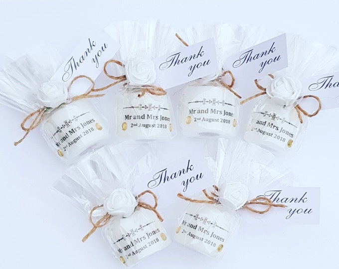 Wedding personalised candle favour. Rustic shabby chic Wedding favours