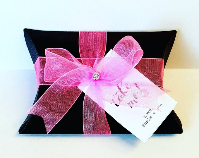 10 x Black Pillow Boxes filled with Chocolates Wedding Favours Birthday Party