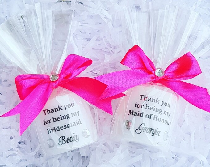 Thank You for being my Bridesmaid Maid of Honour Personalised Candle Favour Favour  gift bag