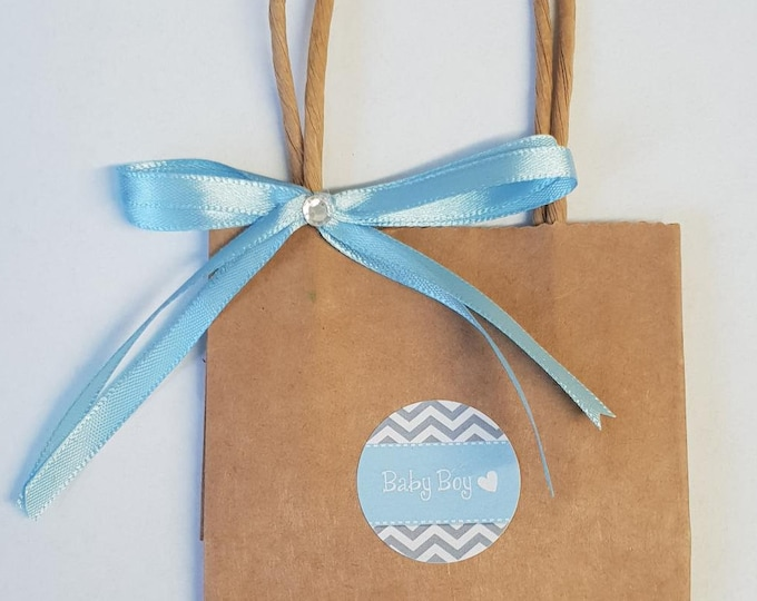 10 x Mini Kraft Brown Favour Bags Baby Shower Gender Reveal Welcome Bags