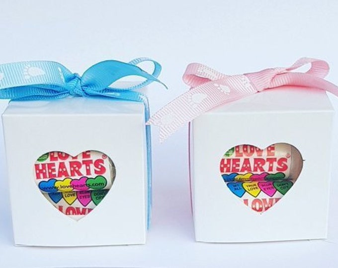 Baby Shower Favours Love Hearts Prefilled Favours Cube box Favours Gender Reveal