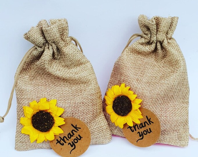 10 Hessian Wedding Favour Bags with Sunflower Rustic Wedding Burlap Wedding